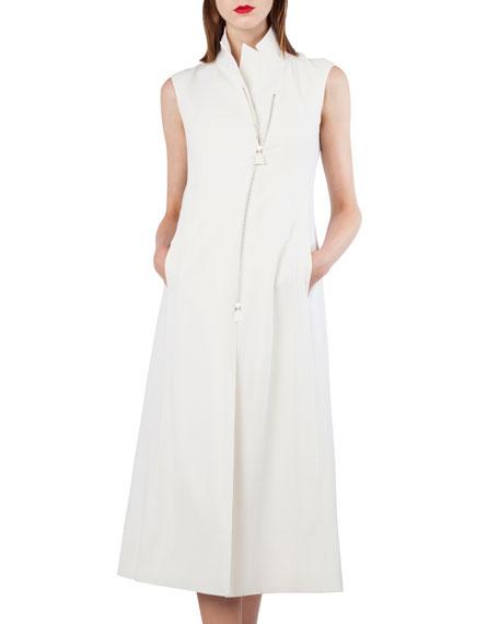 Akris Long-Sleeve Zip-Front Wool-Blend Gilet Dress and Matching