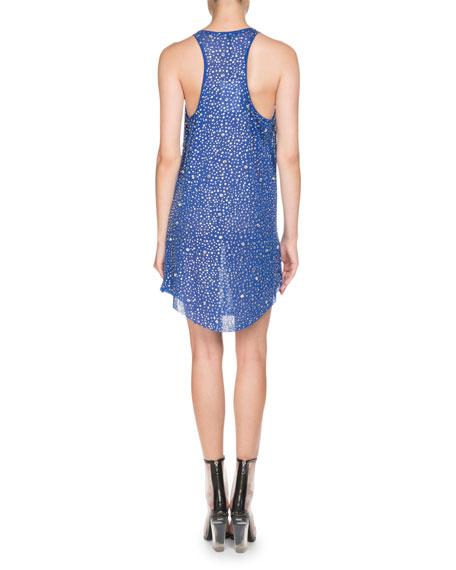 Sleeveless Scoop-Neck Crystal Embellished Linen Dress