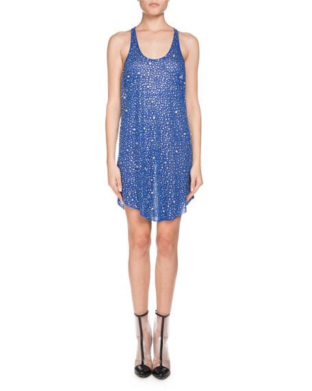 Balmain Sleeveless Scoop-Neck Crystal Embellished Linen Dress
