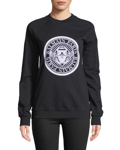 Coin-Logo Long-Sleeve Cotton Sweatshirt