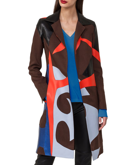 Akris Patchwork Linen & Leather Coat Trench Coat