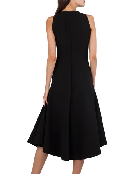 V-Neck Sleeveless Cutout-Waist Techno-Stretch Dress