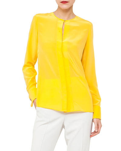 Paneled Silk Crepe Blouse