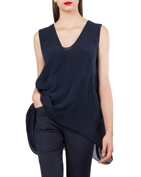 Sleeveless A-Line Tie-Back Top