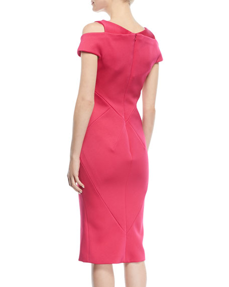 V-Neck Cutout-Shoulder Bonded Crepe Sheath Cocktail Dress