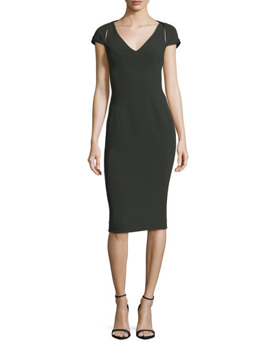 V-Neck Cap-Sleeve Bonded Crepe Sheath Cocktail Dress