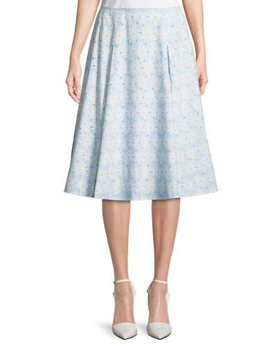 Cotton Floral-Eyelet Pleated Skirt