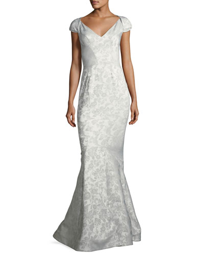 Party Jacquard Sweetheart-Neck Cap-Sleeve Evening Gown