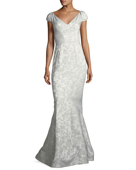 Party Jacquard Sweetheart-Neck Cap-Sleeve Evening Gown, Silver