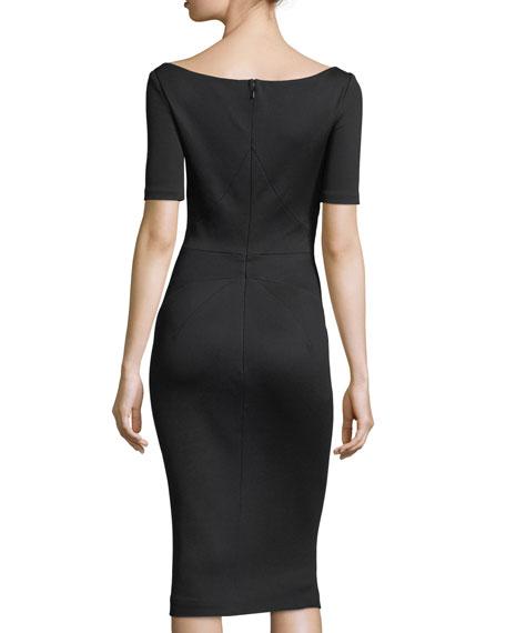 Bondage Jersey Short-Sleeve Cutout-Front Sheath Dress