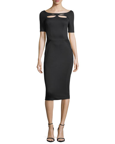 Bondage Jersey Short-Sleeve Cutout-Front Sheath Dress