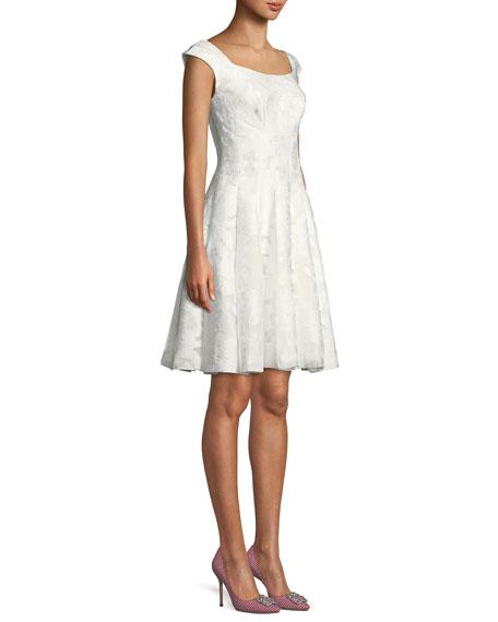 V-Neck Cap-Sleeve Gathered Silk-Blend Midi Dress