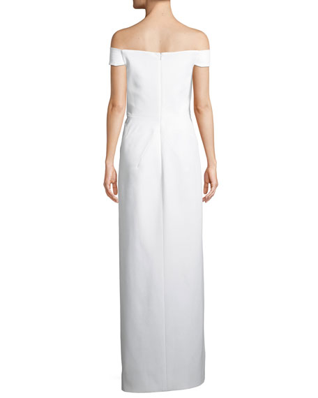 Off-the-Shoulder Column Bonded Jersey Evening Gown