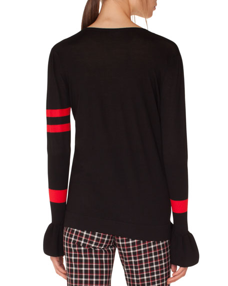 3/4-Sleeve Perforated-Inset Sweater