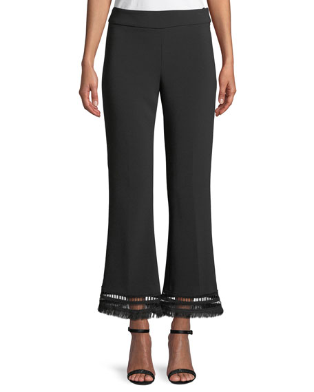 Lela Rose Sam Flared Crepe Pants with Fringe-Hem