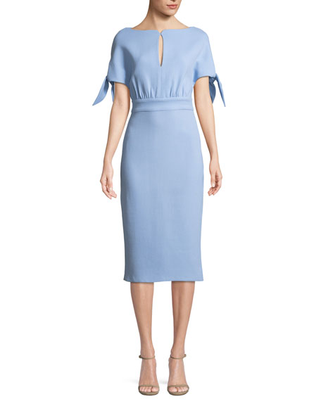 Lela Rose Bow-Tie Cape-Sleeve Wool-Blend Sheath Dress