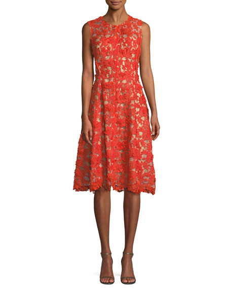 Lela Rose Sleeveless Lace-Guipure Fit-and-Flare Dress