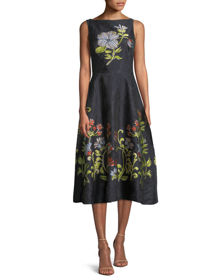 Sleeveless Boat Neck Floral Embroidered Jacquard Dress by Lela Rose