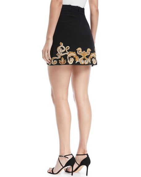 Embellished Hem Crepe Mini Skirt
