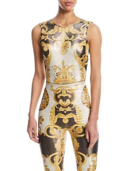 Sleeveless Metallic Baroque Print V-Back Top