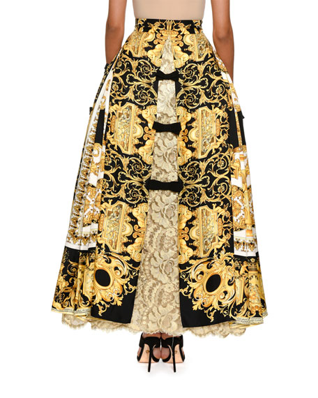 Baroque-Print Ball Skirt with Lace Inset