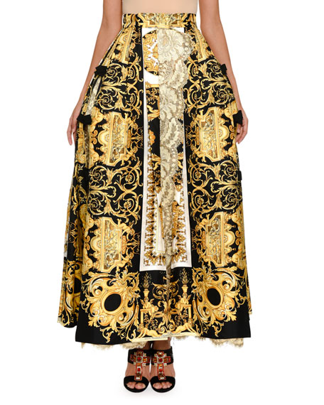 Versace Baroque-Print Ball Skirt with Lace Inset