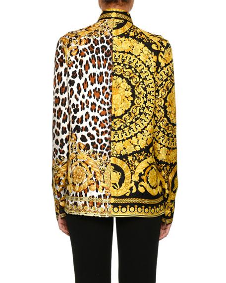 Baroque Leopard-Print Button-Front Silk Twill Blouse