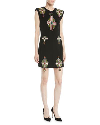 Sleeveless Padded-Shoulder Cross-Embellished Mini Silk Cocktail Dress