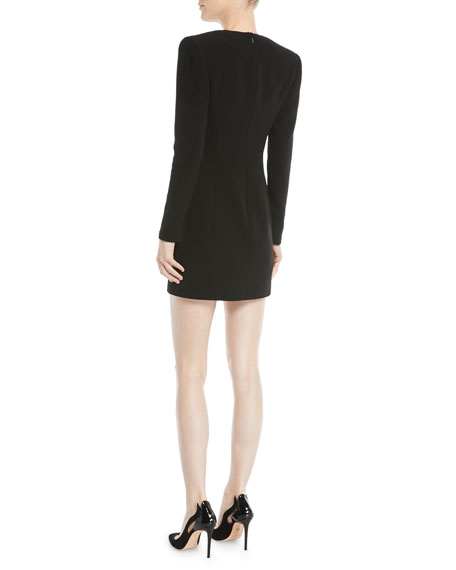 Deep-V Long-Sleeve Cross-Embellished Silk Cocktail Dress
