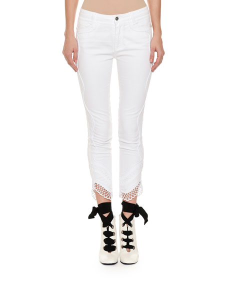 Mid-Rise Slim Skinny-Leg Jeans with Crochet Lace