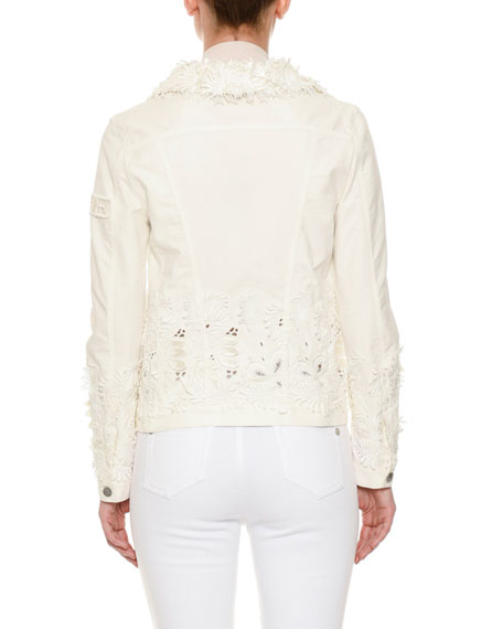 Button-Front Floral-Eyelet Denim Jacket