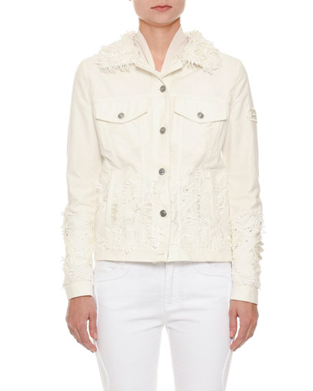 Ermanno Scervino Button-Front Floral-Eyelet Denim Jacket and