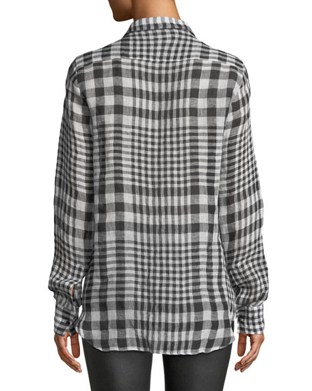 Long-Sleeve Checked Button-Front Linen Blouse w/ Crystal Fringe Bib