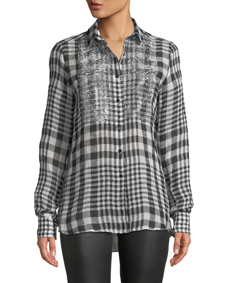 Ermanno Scervino Long-Sleeve Checked Button-Front Linen Blouse w/