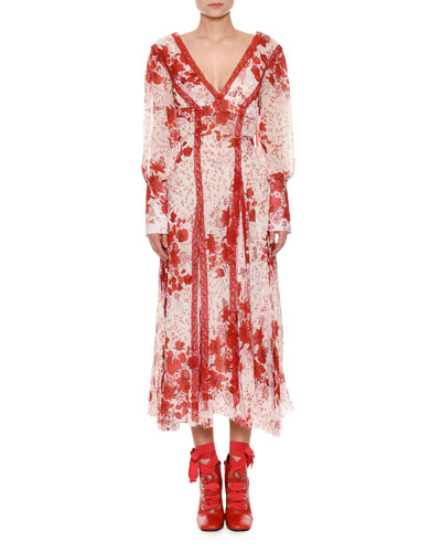 Long-Sleeve V-Neck Floral-Print Dress with Lace Insets