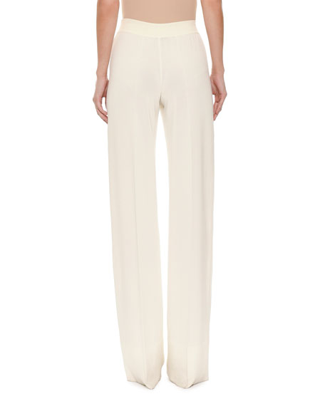 Tie-Waist Pull-On Wide-Leg Pants