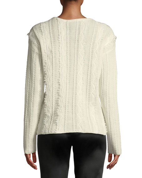 Crewneck Long-Sleeve Embroidered Lace Sweater