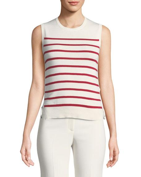 Loro Piana Sleeveless Striped Tank w/ Drawstring Sides