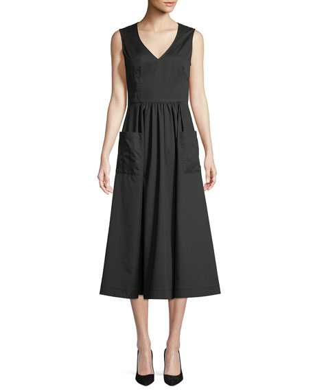 V-Neck Sleeveless Side-Pockets Cotton Poplin Dress