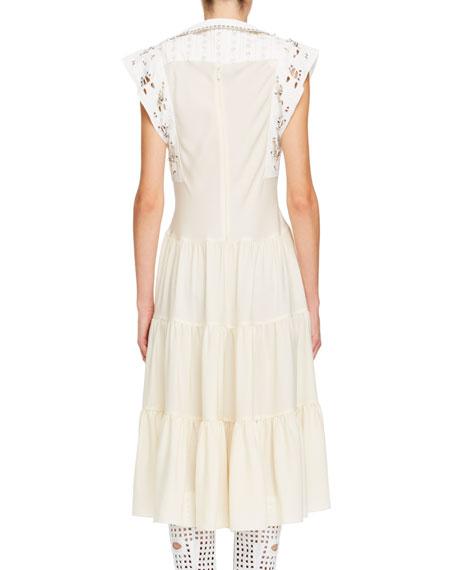 Broderie Anglaise Silk Cady Victorian-Style Midi Dress