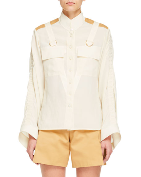 Long-Sleeve Contrast-Shoulder Button-Front Safari Blouse