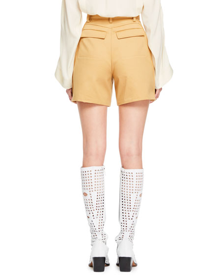 Safari-Style Zip-Fly Cotton Gabardine Shorts