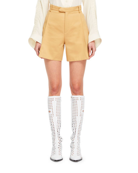 Chloe Safari-Style Zip-Fly Cotton Gabardine Shorts