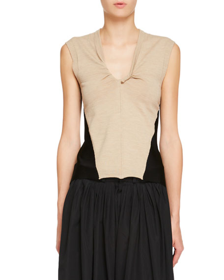 Double-Sided Twisted V-Neck Sleeveless Jersey Knit Top