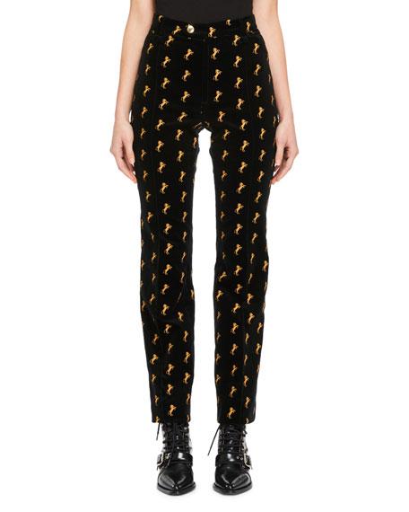 Horse-Embroidered High-Waist Straight-Leg Velvet Pants