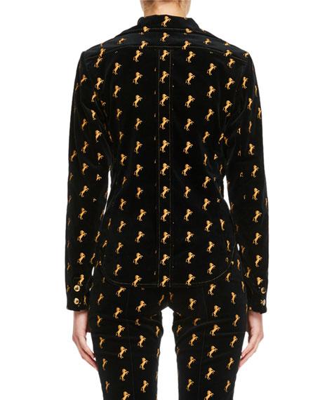 Horse-Embroidered Velvet Shirt