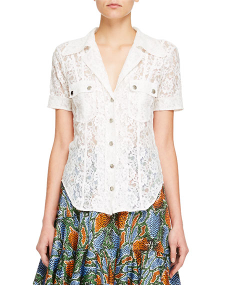Chloe Collared Snap-Front Short-Sleeve Floral-Lace Shirt and