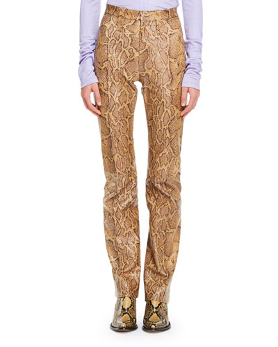 Python-Print Straight-Leg Leather Pants