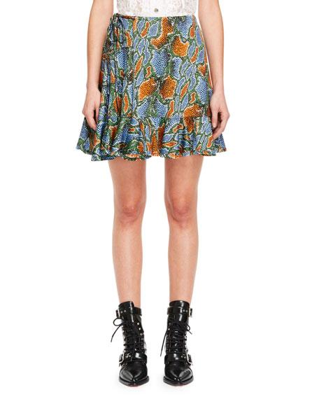 Python-Print Tie-Side Jersey Ruffle Skirt