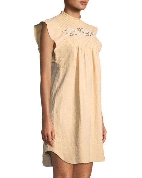 Short Flutter-Sleeve Coated Linen Dress with Cutout Details